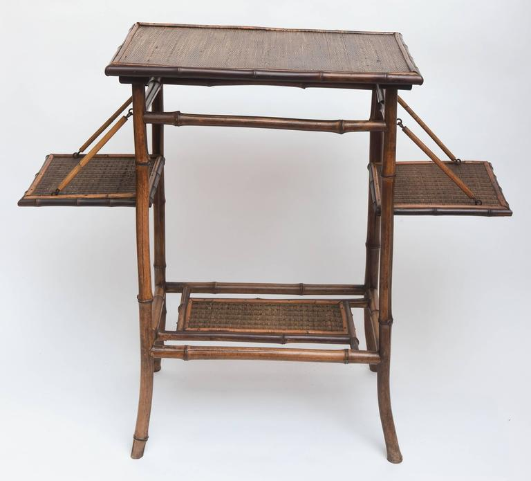 Rare 19th Century English Bamboo Tea Table Signed James Shoolbred, London In Good Condition For Sale In West Palm Beach, FL