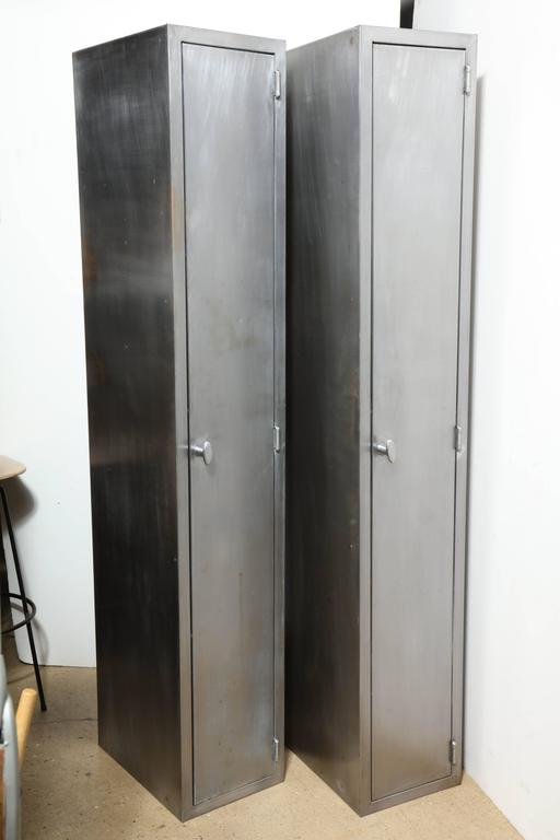 Two Tall And Narrow 1950s Industrial Brushed Steel