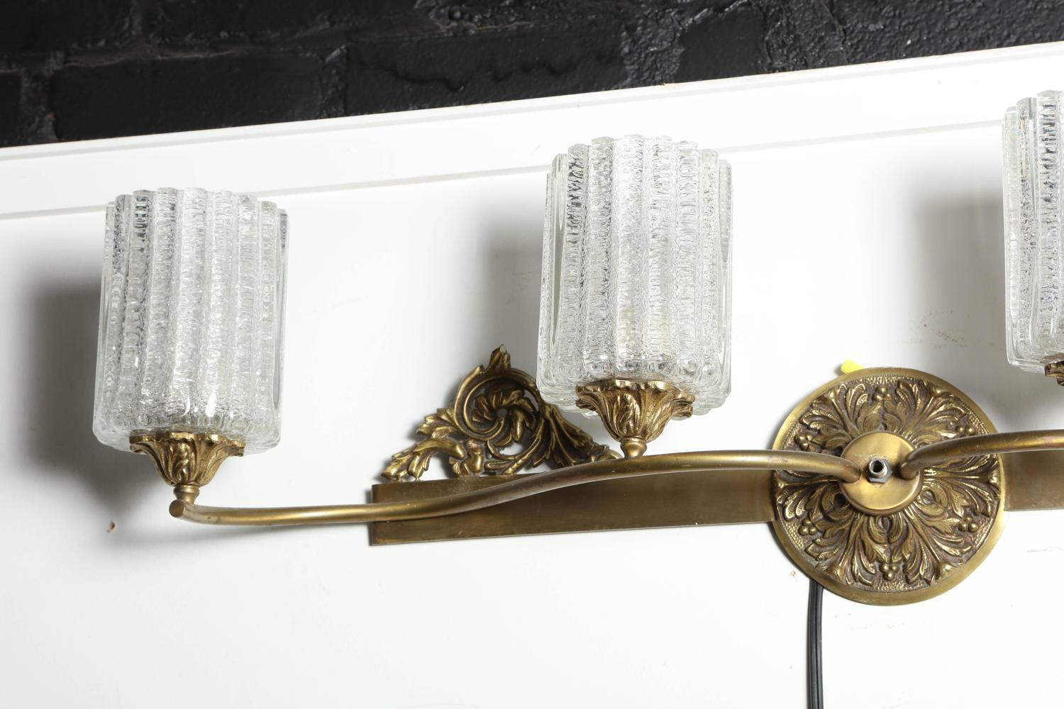 Brass Wall Sconce With Glass Shade : 1950s Murano Marbro Brass, Bronze Cast and Four Glass Shade and Wall Lamp For Sale at 1stdibs