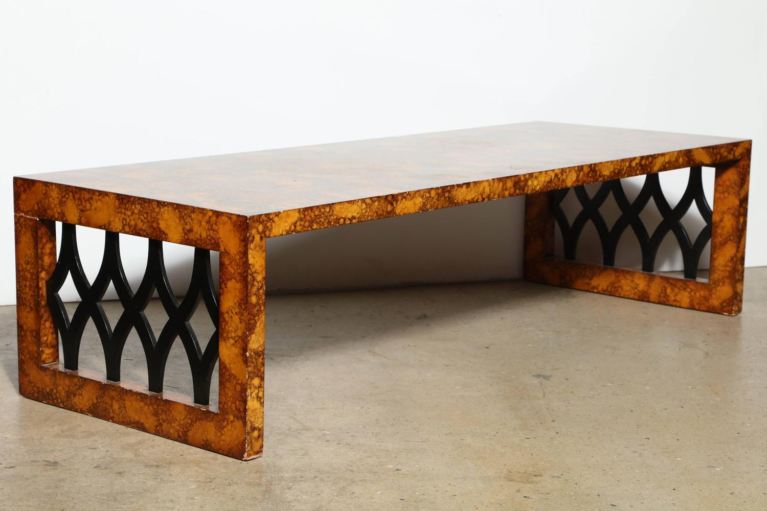 1961 Tommi Parzinger For Charak Oil Dropped Lattice Coffee Table For Sale At 1stdibs