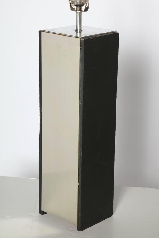 Mid-Century Modern Pair of Substantial Laurel Lamp Co. Black Slate and Aluminum Table Lamps, 1960s For Sale