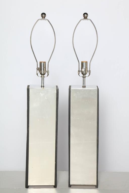 American Pair of Substantial Laurel Lamp Co. Black Slate and Aluminum Table Lamps, 1960s For Sale