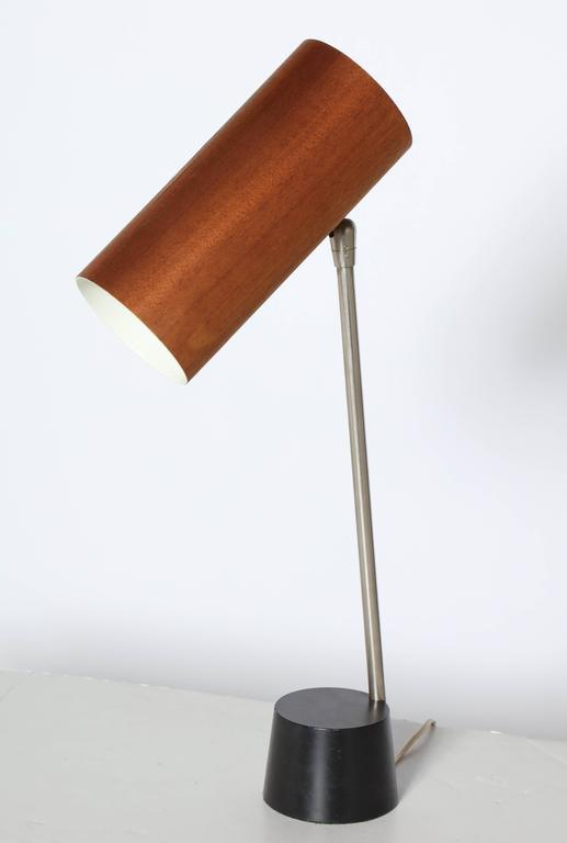 George nelson holzzylinder nickel desk lamp with walnut veneer shade rare 1960s george nelson holzzylinder walnut veneer reading desk lamp featuring an adjustable canister aloadofball Images