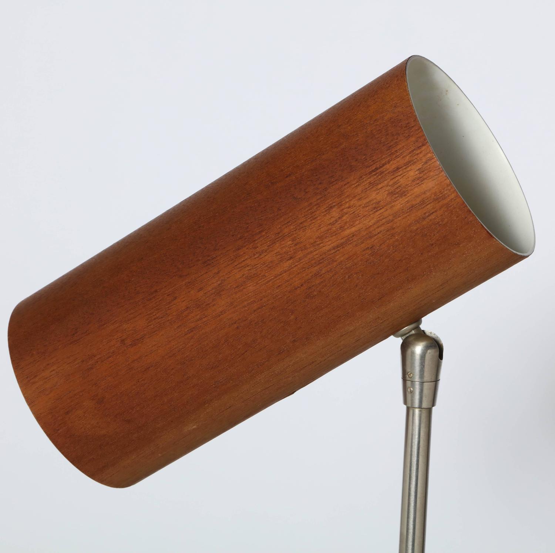 rare 1960s adjustable aluminum black enamel and wood veneer desk lamp for sale at 1stdibs. Black Bedroom Furniture Sets. Home Design Ideas