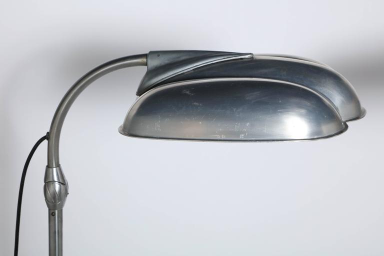 Raymond Loewy Style Sperti Aluminum & Cast Iron Adjustable Floor Lamp, C. 1940 In Good Condition For Sale In Bainbridge, NY