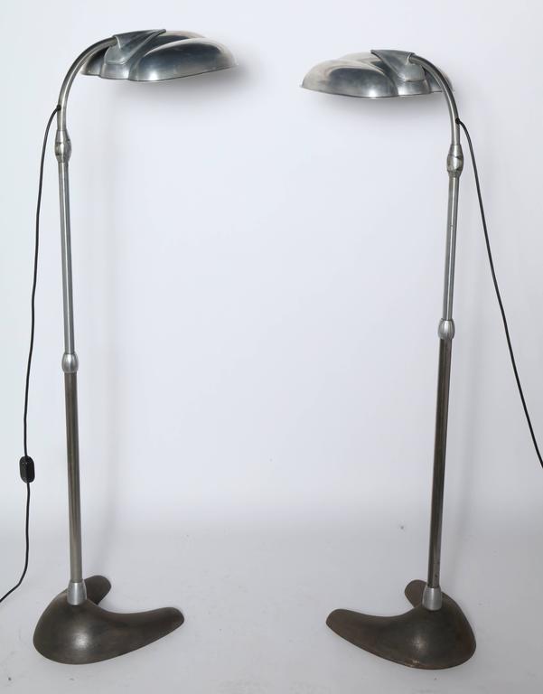 Machine Age Raymond Loewy Style Sperti Aluminum & Cast Iron Adjustable Floor Lamp, C. 1940 For Sale