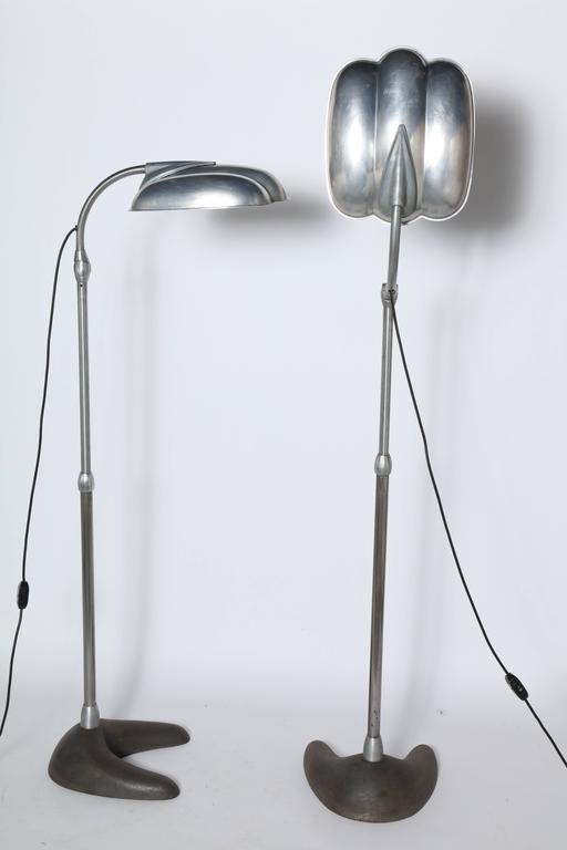 American Raymond Loewy Style Sperti Aluminum & Cast Iron Adjustable Floor Lamp, C. 1940 For Sale