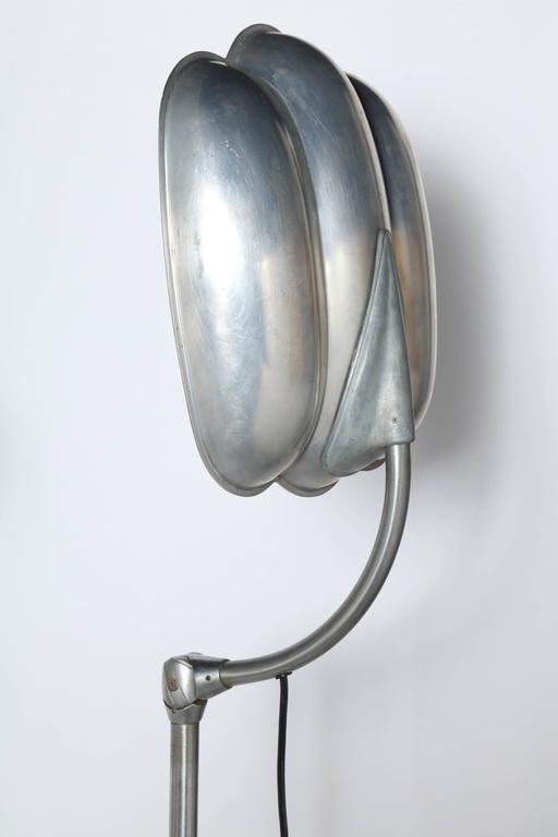 Raymond Loewy Style Sperti Aluminum & Cast Iron Adjustable Floor Lamp, C. 1940 For Sale 1