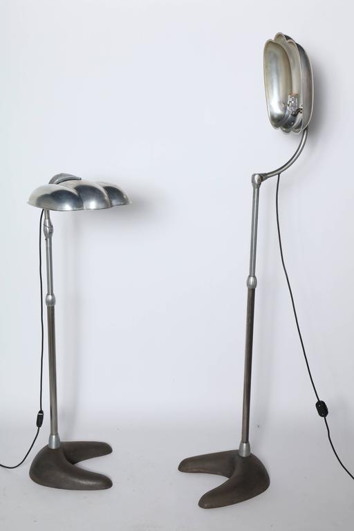Raymond Loewy Style Sperti Aluminum & Cast Iron Adjustable Floor Lamp, C. 1940 For Sale 4