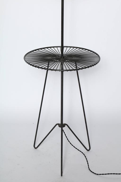 Black Wrought Iron And Black Wire Hairpin Reading Floor Lamp Side