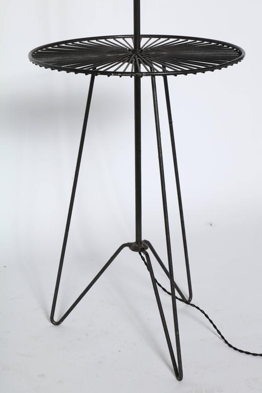 1950s sunburst floor lamp and side table in black wrought. Black Bedroom Furniture Sets. Home Design Ideas