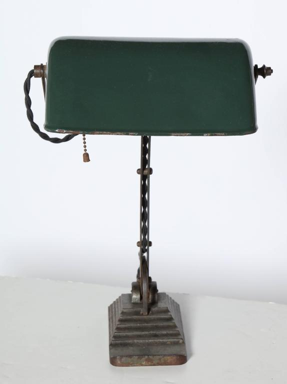 Belgian Secessionist Desk Lamp With Dark Green Shade
