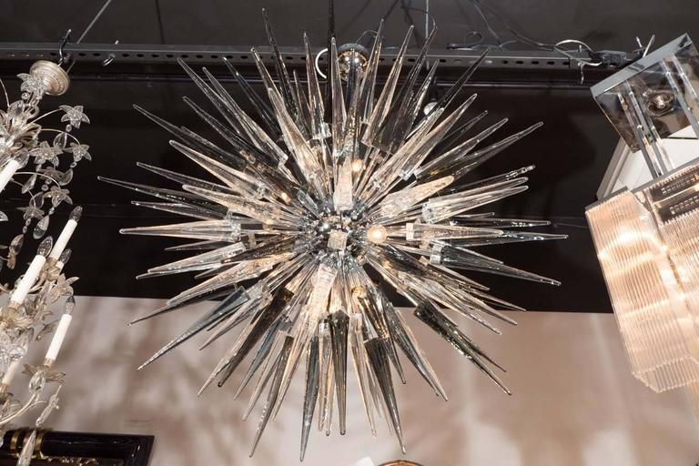 Contemporary Modernist Handblown Smoked Murano Glass Starburst Chandelier in Polished Nickel For Sale