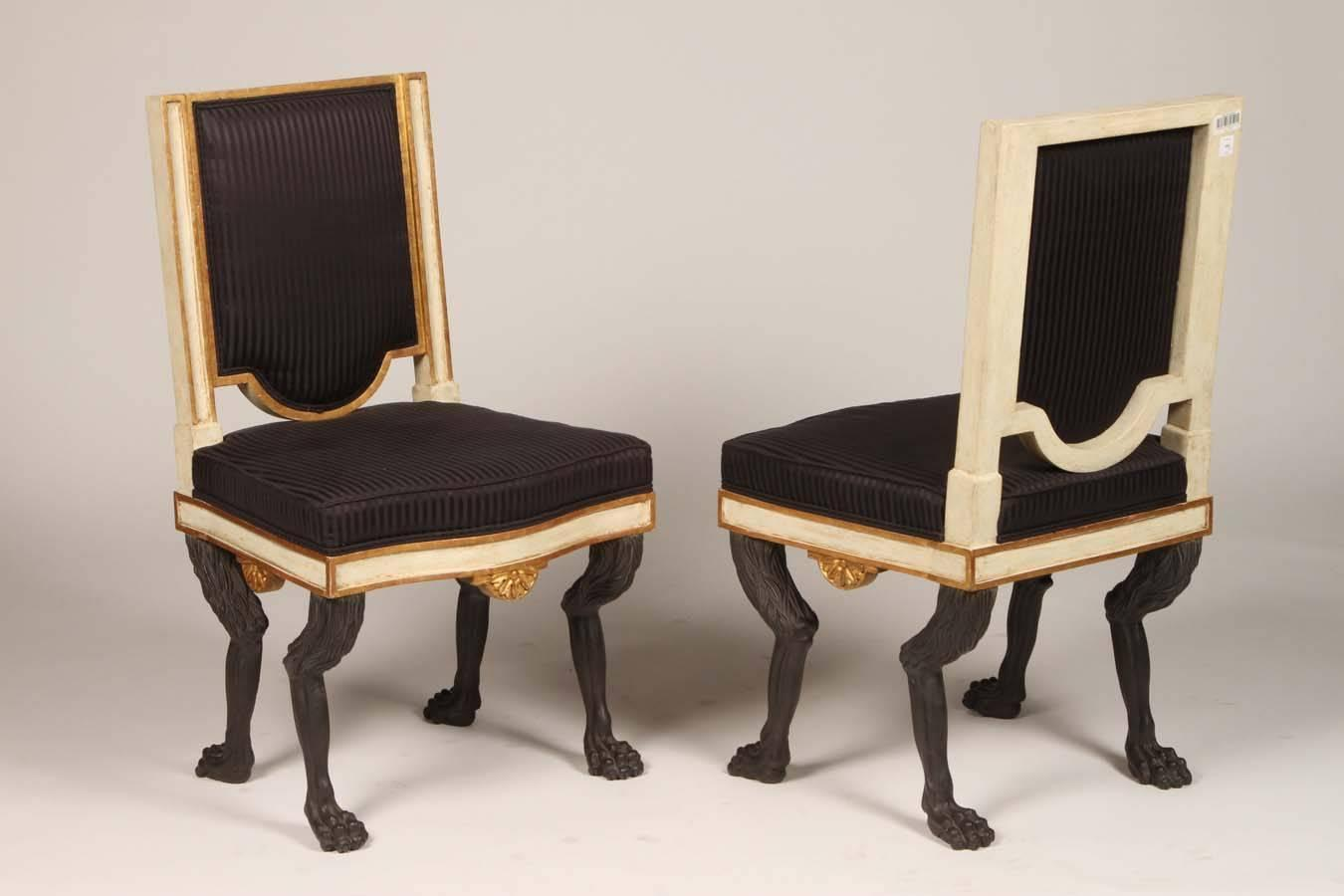 Set of eight ebonized hollywood regency chairs at 1stdibs for Regency furniture living room sets