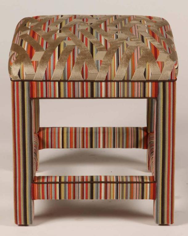 Fabric Pair of Custom Upholstered Benches For Sale