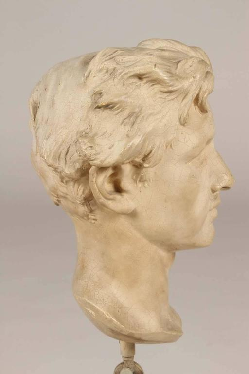20th Century Plaster Bust of a Man on Stand For Sale