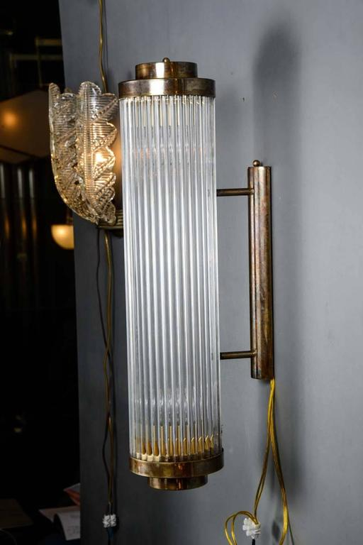 Wall Sconce Height Standard : Set of Height Brass and Glass Rods Wall Sconces at 1stdibs