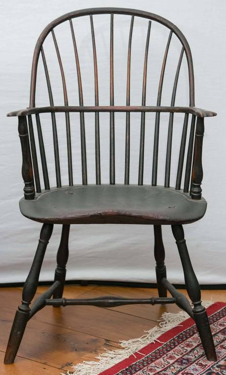 Philadelphia Knuckle Arm Windsor Chair In Old Green Paint