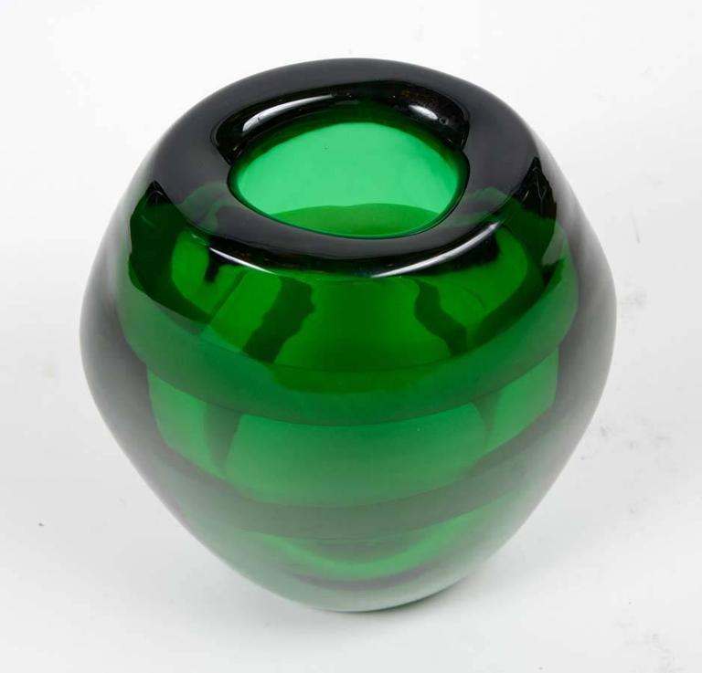 Italian Nice Pair of Signed Green Murano Glass For Sale
