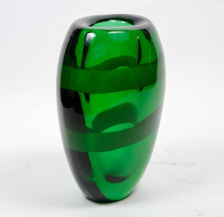 Nice Pair of Signed Green Murano Glass In Excellent Condition For Sale In Saint-Ouen, IDF
