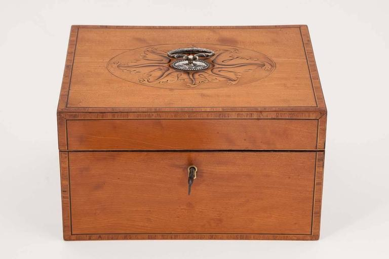 This exceptional example retains its original pair of oval pewter caddies and red velvet lining. The satinwood box with ebony and boxwood stringing and kingwood cross banding, the lid with wonderful patera and silver handle.