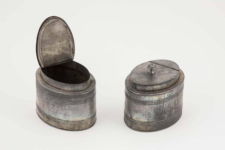 Pewter 18th century Satinwood Tea Caddy with original interior For Sale