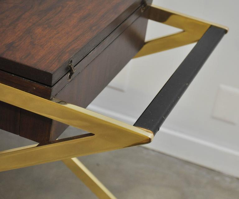 Mid-Century Modern Brass X-Base Serving Cart For Sale