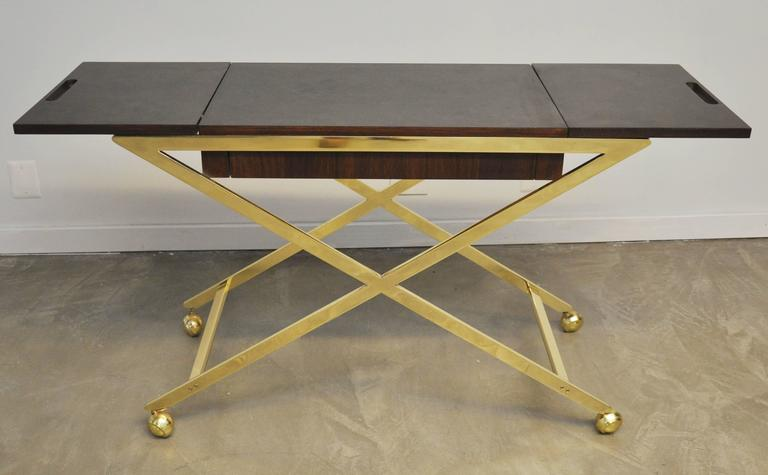 20th Century Brass X-Base Serving Cart For Sale