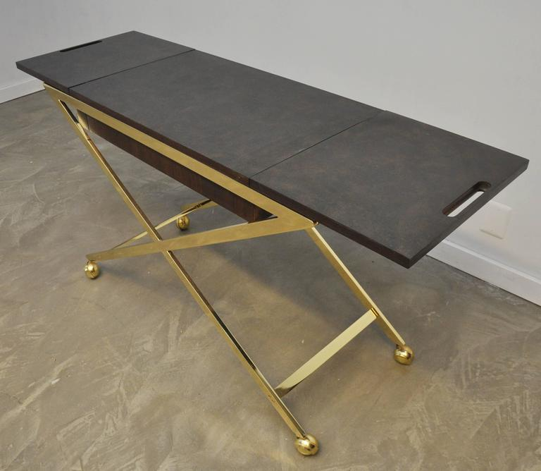 Brass X-Base Serving Cart For Sale 1