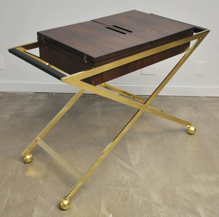 Brass X-Base Serving Cart For Sale 2
