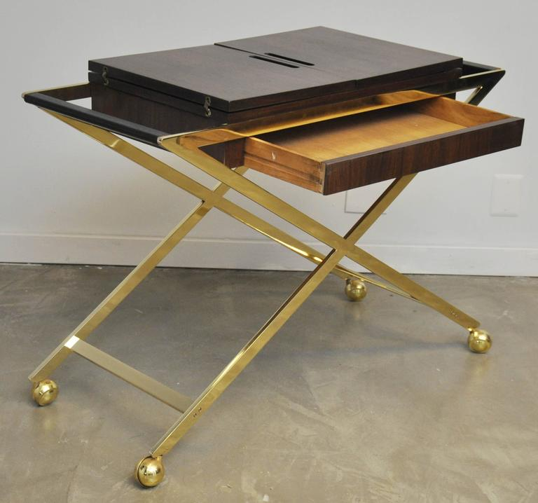 Brass X-Base Serving Cart For Sale 3