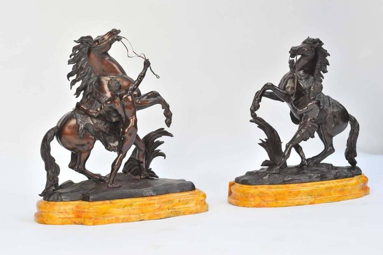 French Pair of Large 19th Century Bronze Marley Horses on Stands For Sale
