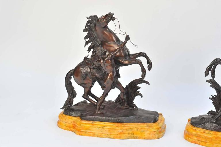 Cast Pair of Large 19th Century Bronze Marley Horses on Stands For Sale