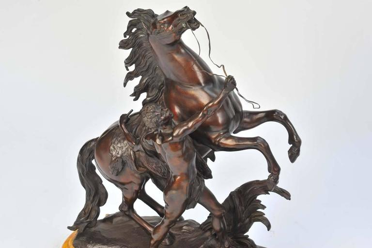 Mid-19th Century Pair of Large 19th Century Bronze Marley Horses on Stands For Sale