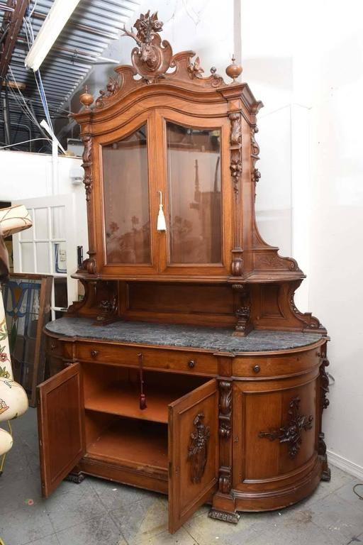 Superb French Oak Carved Antique Hunt Board Server Cabinet