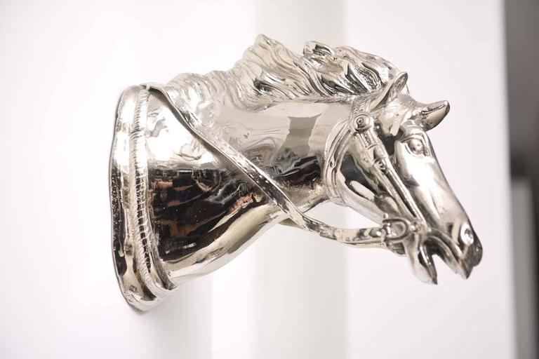 Wall-Mount Nickle-Plated Horse Head Sculpture, German, 1960s In Excellent Condition For Sale In West Palm Beach, FL