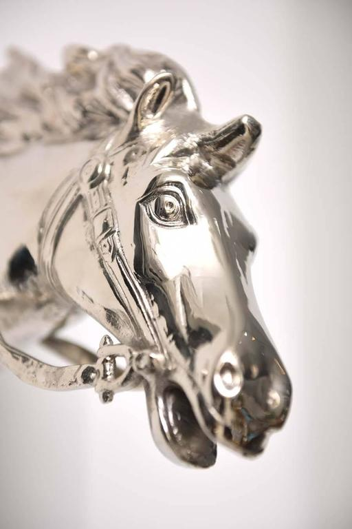 20th Century Wall-Mount Nickle-Plated Horse Head Sculpture, German, 1960s For Sale