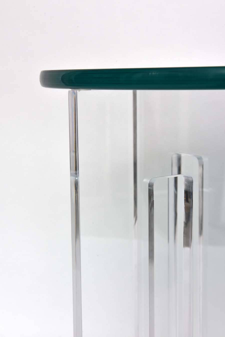 Pair of bespoke round lucite and glass side tables at 1stdibs Bespoke glass furniture