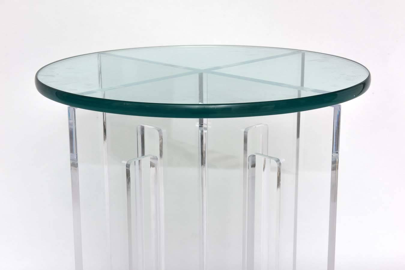 Pair of Bespoke Round Lucite and Glass Side Tables at 1stdibs