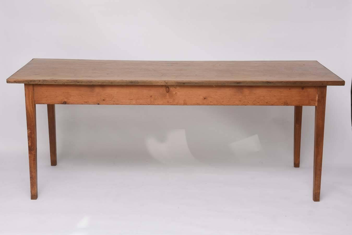 rectangular wood farm table with two drawers circa