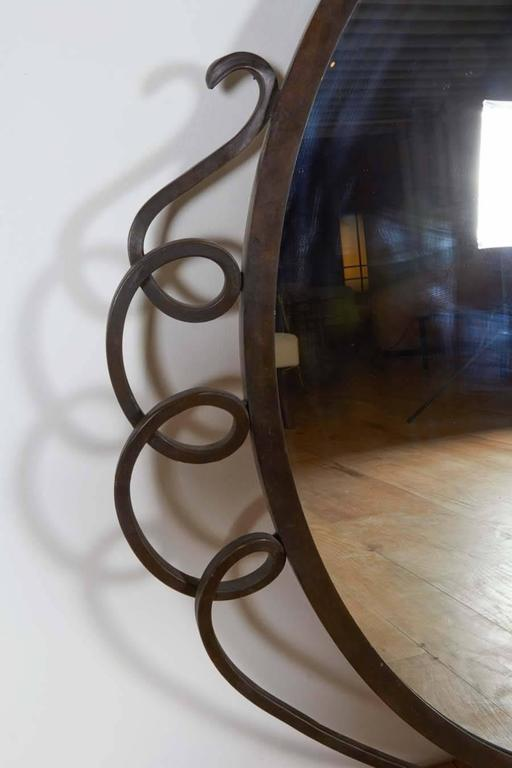 20th Century Wall Hanging Patinated Bronze Mirror For Sale