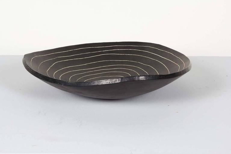 Etched Ceramic Bowl by Marianne Vissiere For Sale