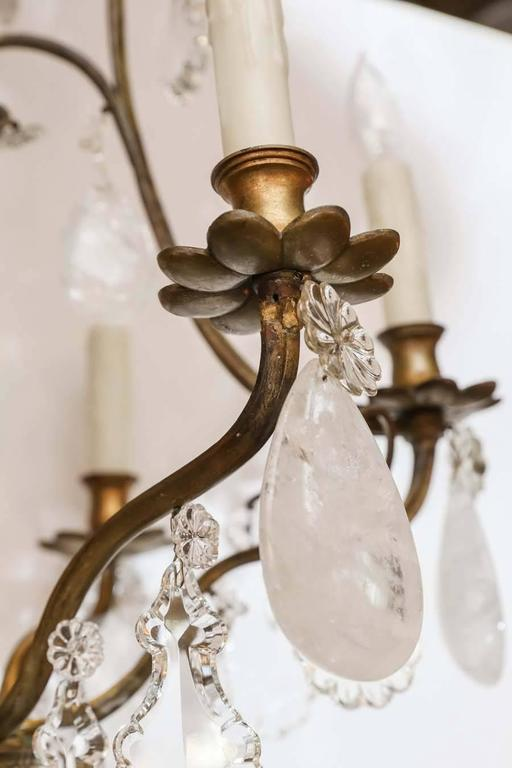 French Bronze and Crystal with Rock Crystal Chandelier, 19th Century