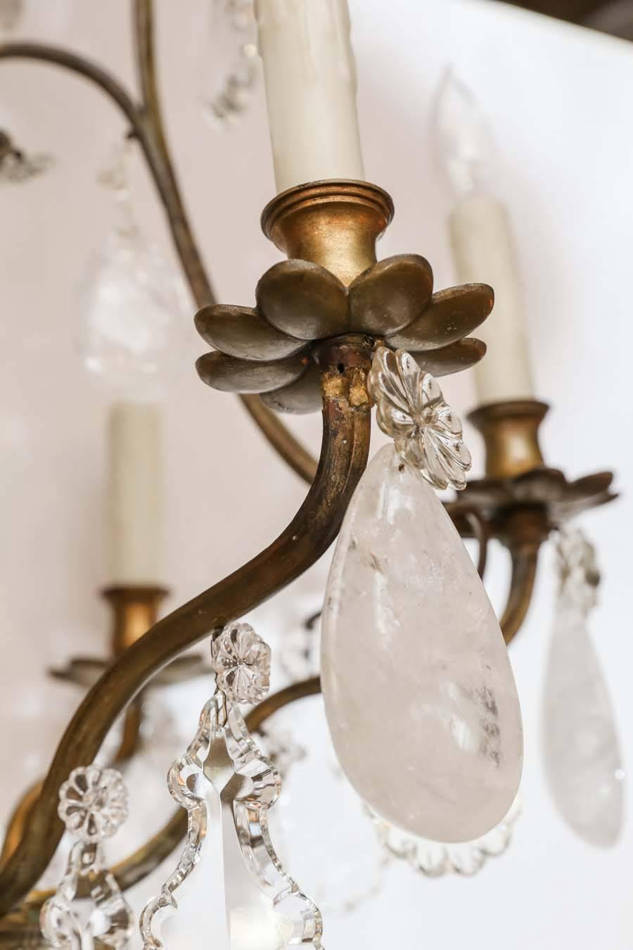 Bronze And Crystal With Rock Crystal Chandelier 19th