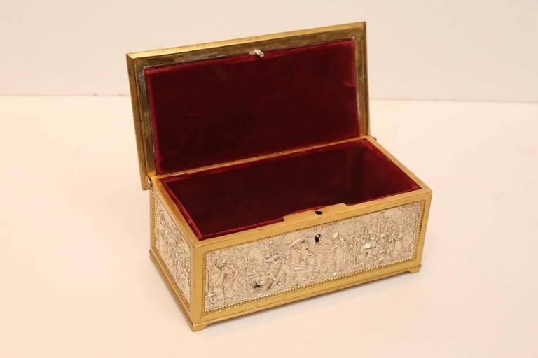 French European Silver and Bronze Dore Decorative Box