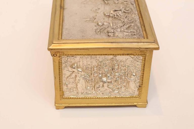 European Silver and Bronze Dore Decorative Box In Excellent Condition In Houston, TX