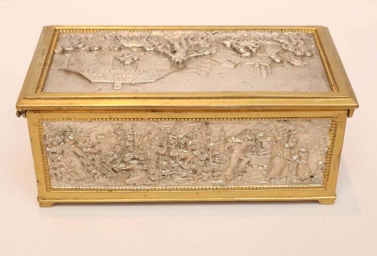 19th Century European Silver and Bronze Dore Decorative Box