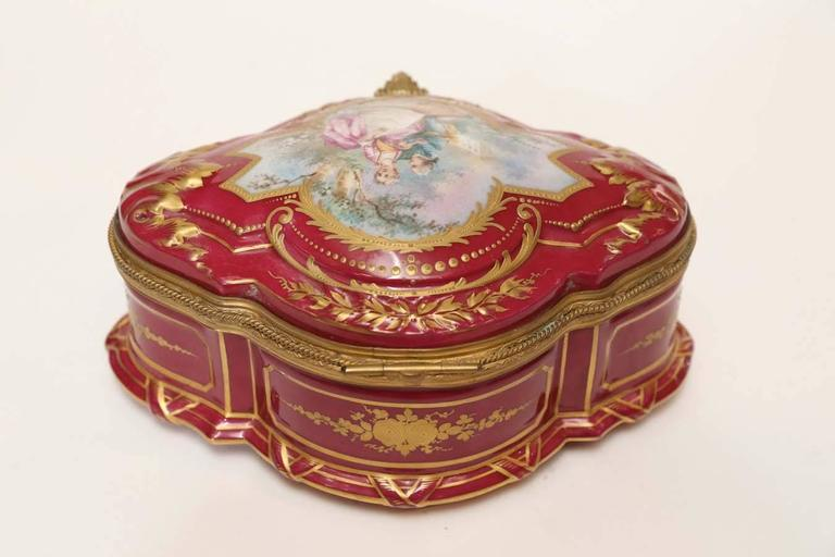 French Sevres Porcelain Box with Gilt Trim