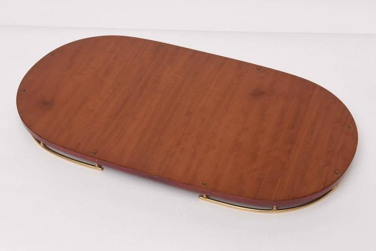 Brass Aldo Tura Red Goatskin Serving Tray For Sale