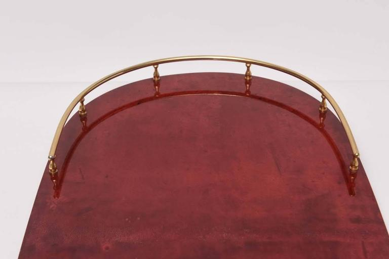 Aldo Tura Red Goatskin Serving Tray For Sale 1